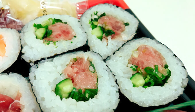 まぐろとサーモン寿司(ねぎとろ)